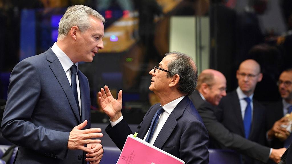Frankrikes finansminster Bruno Le Maire och Italiens finansminister Giovanni Tria.