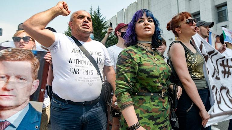 Protester i Chabarovsk på lördagen.