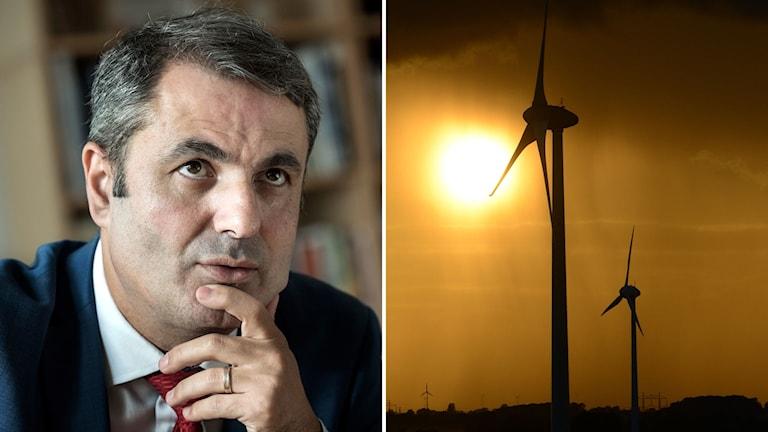 Ibrahim Baylan och vindkraftverk