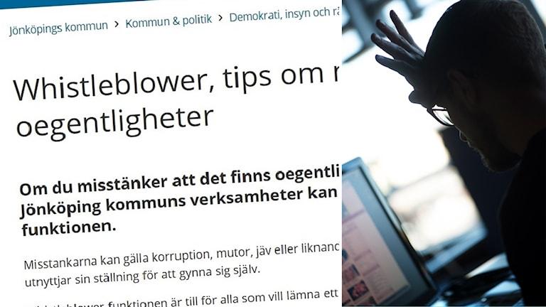 Delad bild: Webbsida med texten Så tipsar du om oegentligheter, och en man framför en datorskärm.