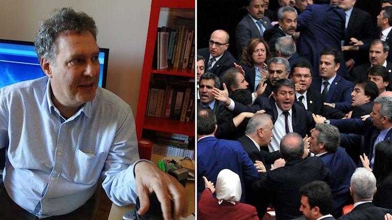 Delad bild: man och bråk i parlamentet