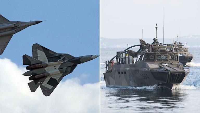 En bild på svenska militärbåtar och en bild på ryska stridsflygplan.