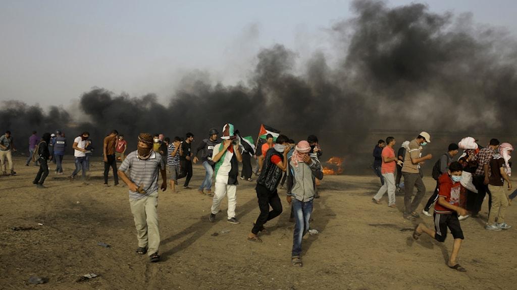 Palestinska demonstranter nära gränsstängslet mellan Israel och Gazaremsan. Arkivbild.