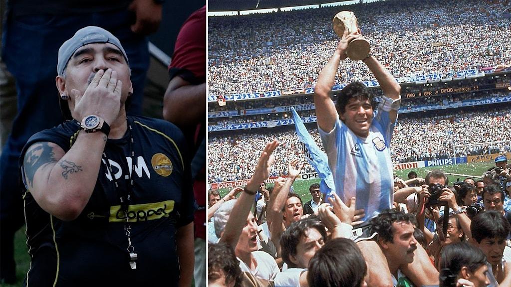 Diego Maradona lyfter VM-bucklan 1986. Finalen mot Västtyskland slutade 3-2 till legendarens hemland Argentina.