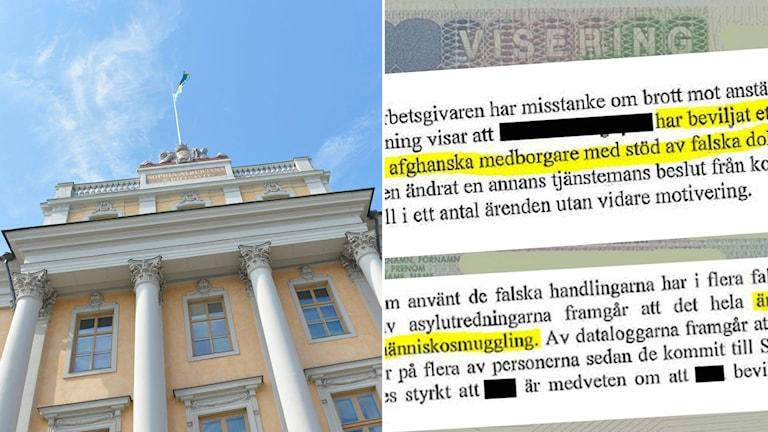 Svenska utrikesdepartementets fasad i Stockholm. Till höger utdrag ur Migrationsverkets utredning om den tidigare UD-tjänstemannen.