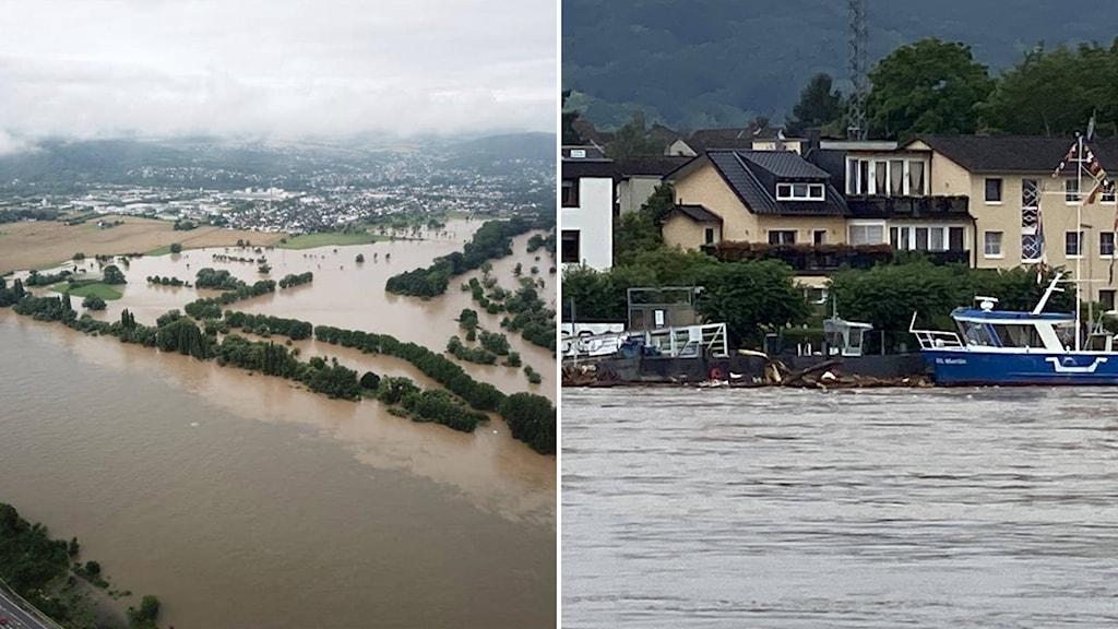 Översvämmade samhällen i Tyskland.