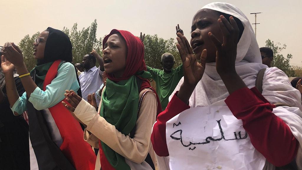 Kvinnor spelade en framträdande roll under den sudanesiska revolutionen. På bilden en protest i juni 2019 mot den militärregering som efterträdde den störtade diktatorn Omar al-Bashir.