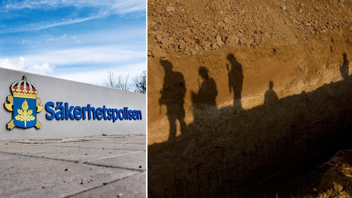 säkerhetspolisen och skuggor av soldater.