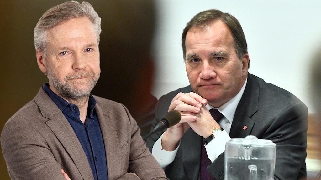 Ekots kommentator Tomas Ramberg och Stefan Löfven.