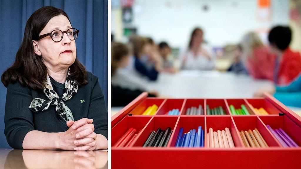 Minister vid bord och elever i klassrum