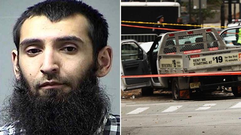 Sayfullo Saipov och den hyrda bilen han använde för attacken på cykelbanan på Manhattan.
