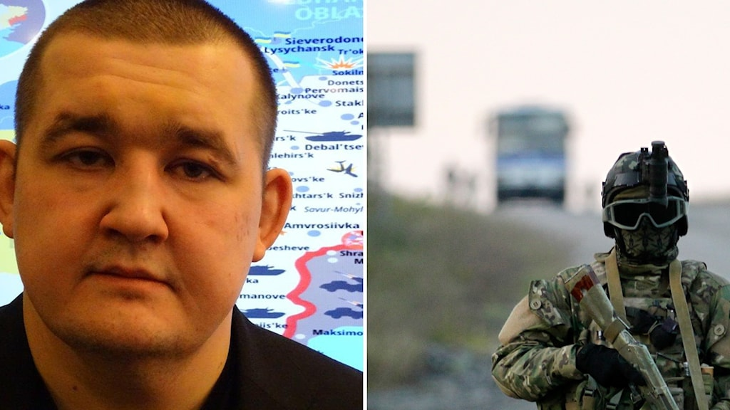 Bildkollage med Pavel Lisjanskij och en ukrainsk soldat som vaktar vid ett fångutbyte.