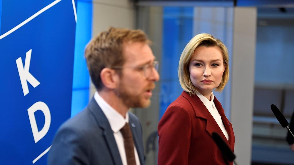 Kristdemokraternas ekonomiske talesperson Jakob Forssmed och partiledare Ebba Busch Thor. Arkivbild.