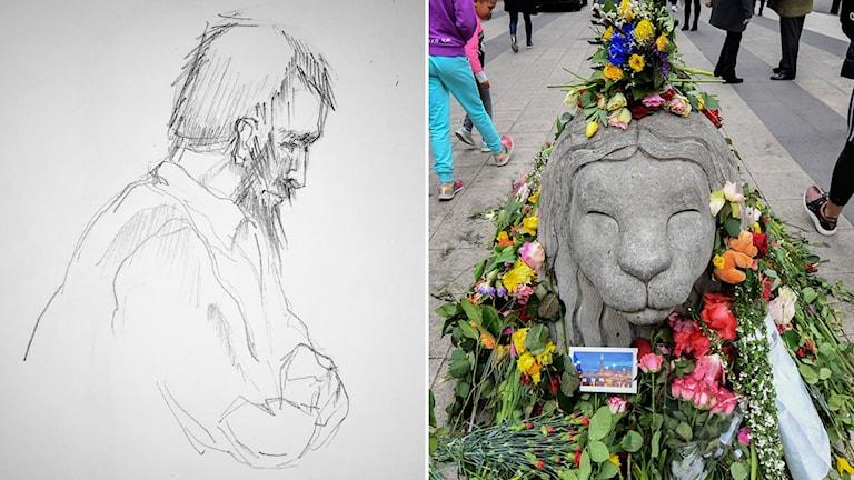 Skissbild av man till vänster, betonglejon med blommor på och runt, till höger.