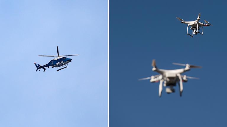 Delad bild: polishelikopter och drönare