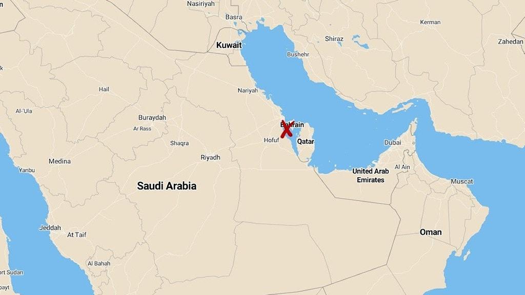 Karta som visar Bahrain.