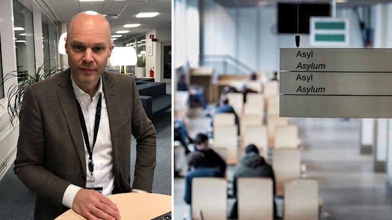 Carl Bexelius, biträdande rättschef på Migrationsverket, och en väntsal för asylsökande på Migrationsverket i Solna.