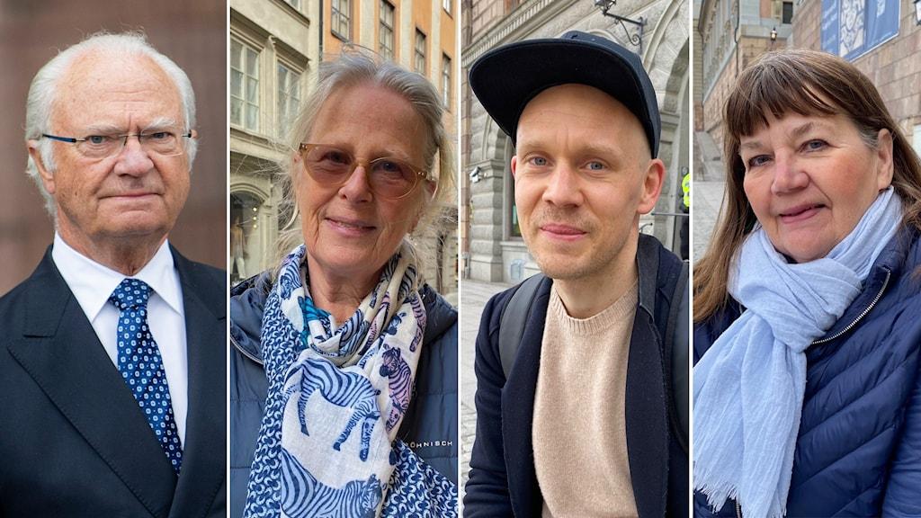 Från vänster: Kung Carl Gustaf, Birgitta Haglund, Fredrik Klingval, Ingrid Hallin.