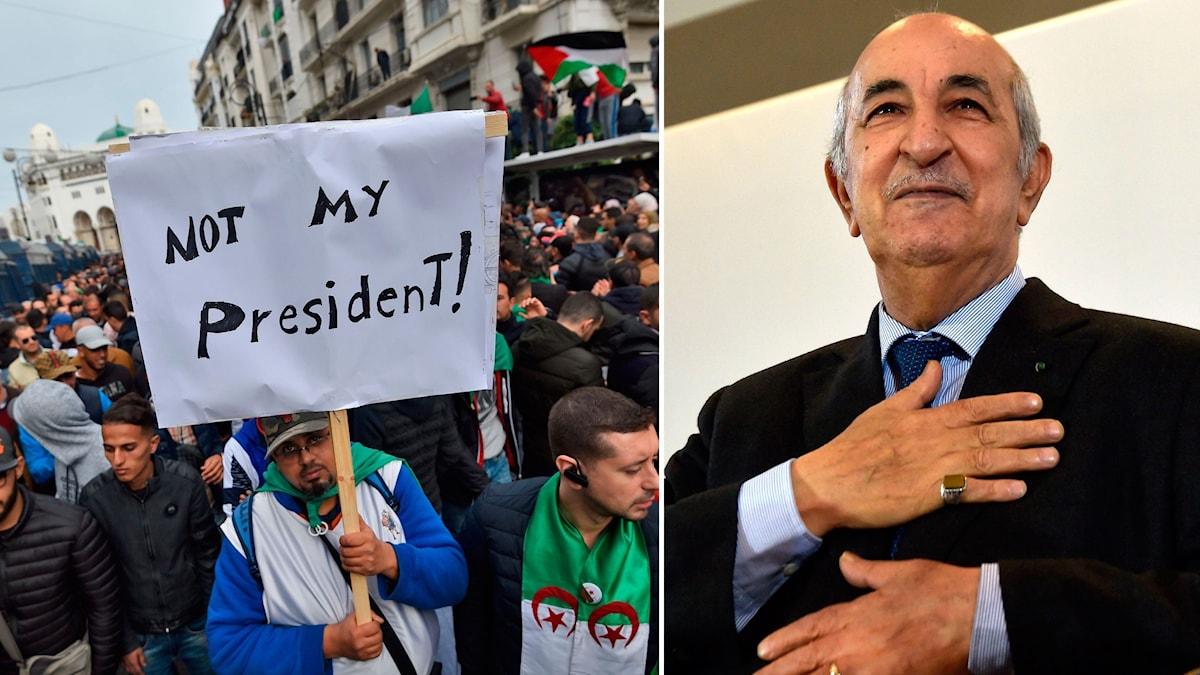 Protester i Algeriets huvudstad Alger, och den nyvalde presidenten Abdelmajid Tebboune.
