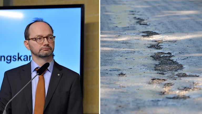 Infrastrukturminister Thomas Eneroth och blödande asfalt