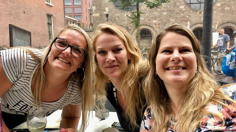 Nederländskorna Sanne Levink, Margo Wispels och Jessica Kelder ser fram emot finalen i sin egen hemstad Enschede.