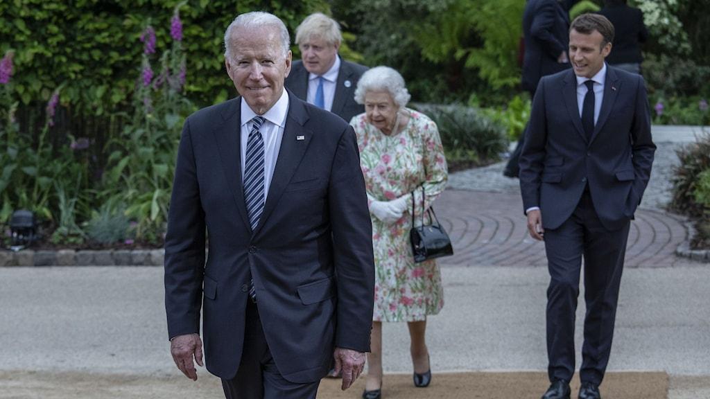 Joe Biden, Boris Johnson, drottning Elizabeth och Emmanuel Macron