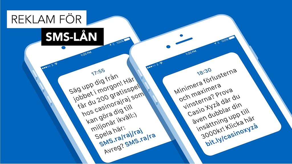 Exempel på reklam för sms-lån. Grafik: Liv Widell / Sveriges Radio