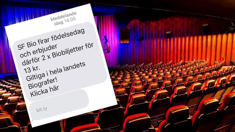 Många har fått bluff-sms med erbjudanden om billiga biobiljetter.