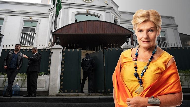 Cecilia Uddén och Saudiarabiens konsulat i Istanbul. Montage.
