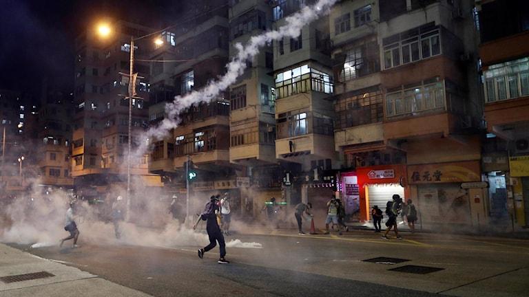 Protester i Hongkong 14 augusti.