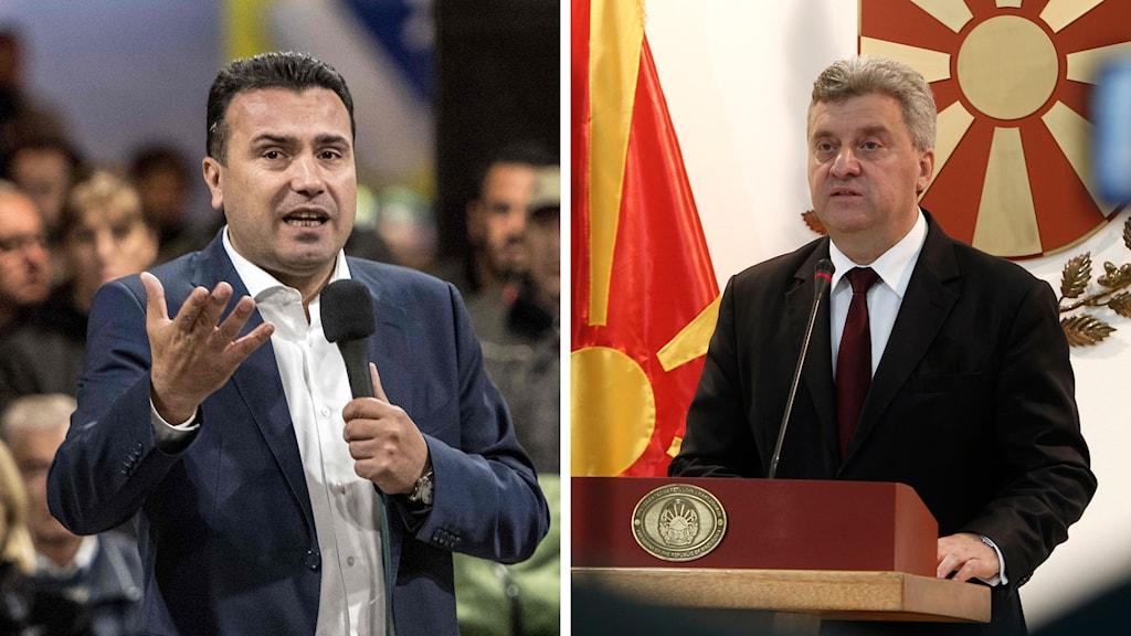 Makedoniens premiärminister Zoran Zaev och president Gjorge Ivanov.