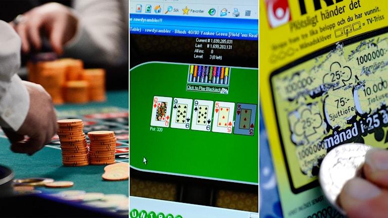 Tredelad bild: roulettebord, onlinepoker och en skraplott.