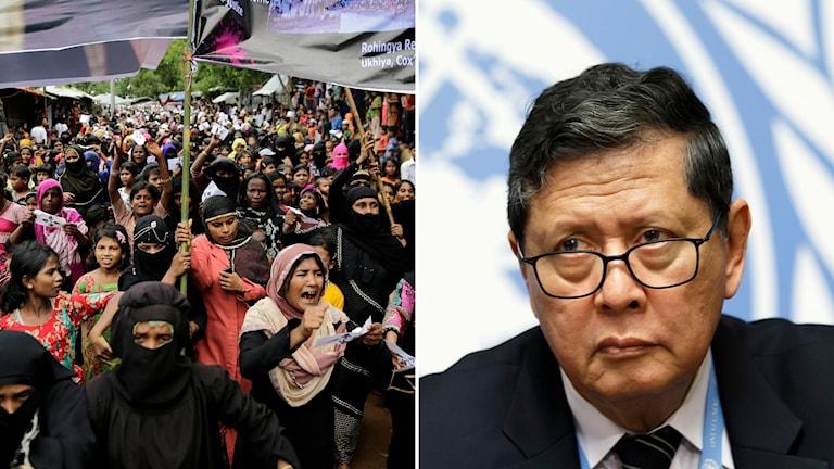 Demonstrerande rohingyakvinnor på flykt i Bangladesh och FN:s chefsutredare Marzuki Darusman.