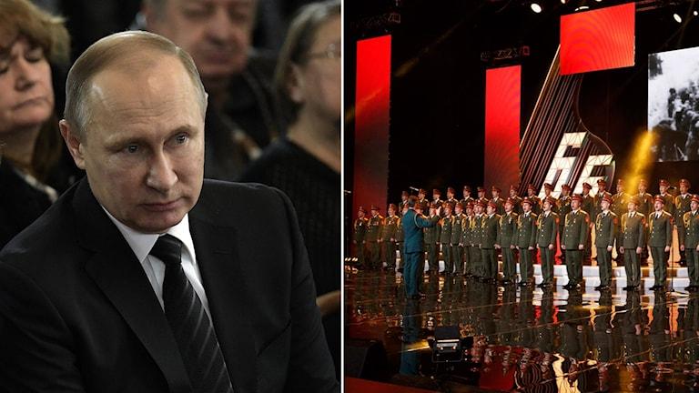 Tvådelad bild på Vladimir Putin, Rysslands president och en bild på Aleksandrov-kören.