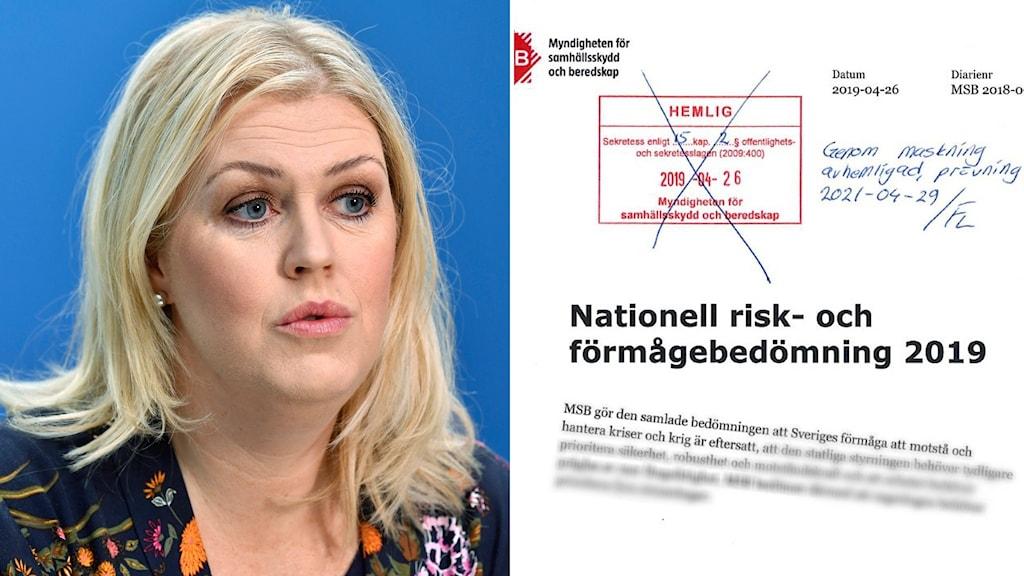 Socialminister Lena Hallengren (S) och faksimil av MSB-rapport om svensk krishantering