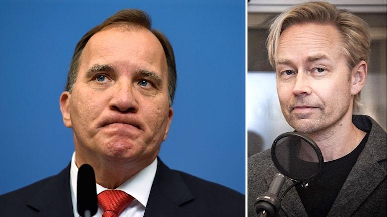 Statsminister Stefan Löfven och Sveriges Radio politiske kommentator Fredrik Furtenbach.