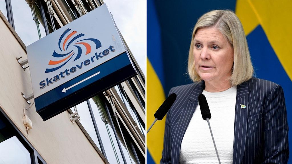Skatteverkets skylt och bild på finansminister Magdalena andersson framför en svensk flagga