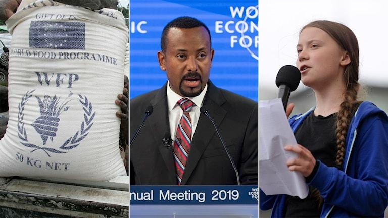 Bild på säck med majs från FN:s livsmedelsprogram, bild på Etiopiens premiärminister Abiy Ahmed och bild på klimataktivisten Greta Thunberg.
