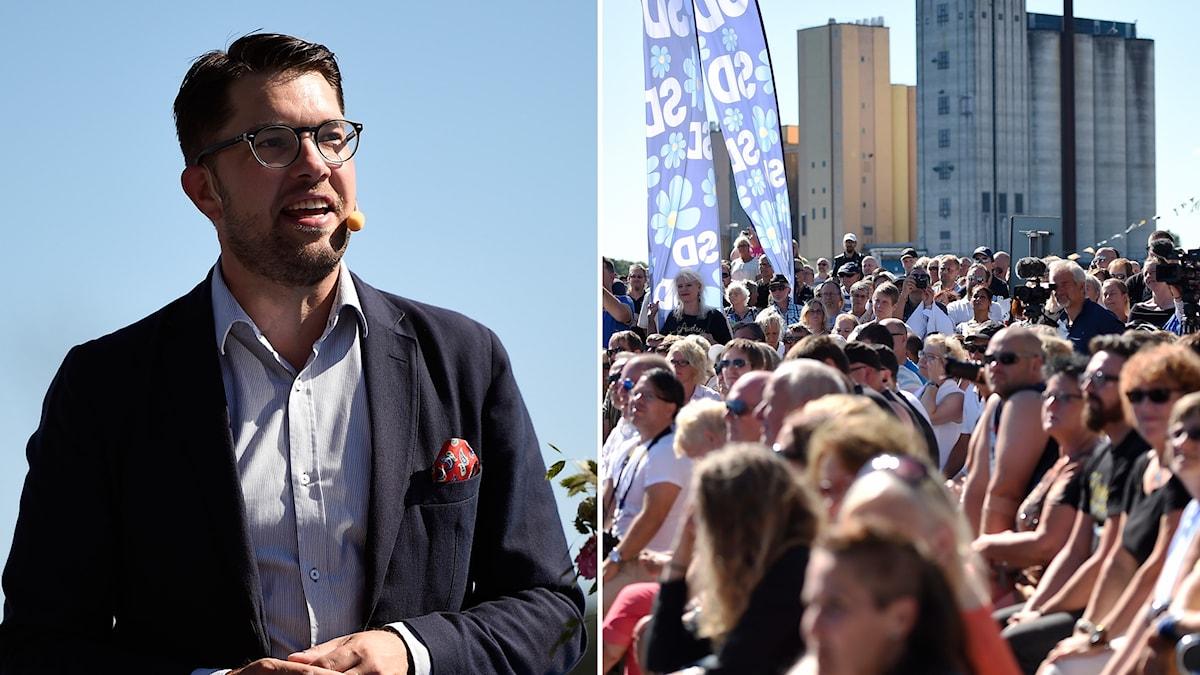 Jimmie Åkesson höll sommartal i Sölvesborg.