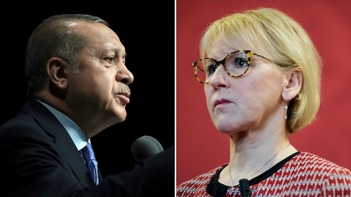 Turkiets president Erdogan och Sveriges utrikesminister Margot Wallström