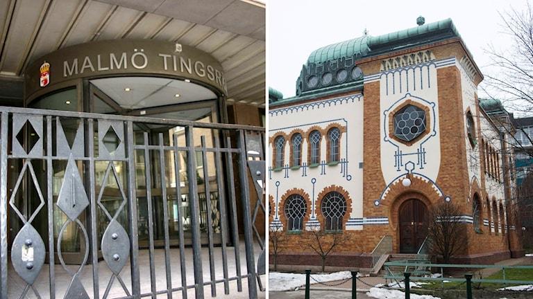 Bilden visar ingången till Malmö tingsrätt, på Kalendegatan i Malmö. och Malmö Synagoga.
