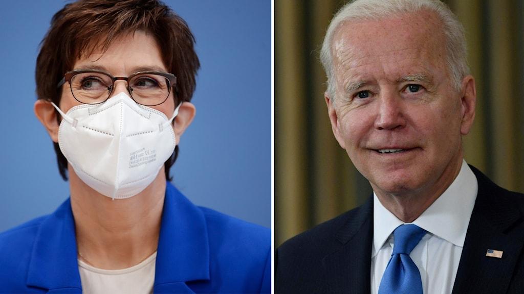 Tysklands försvarsminister Annegret Kramp Karrenbauer och USA:s president Joe Biden.