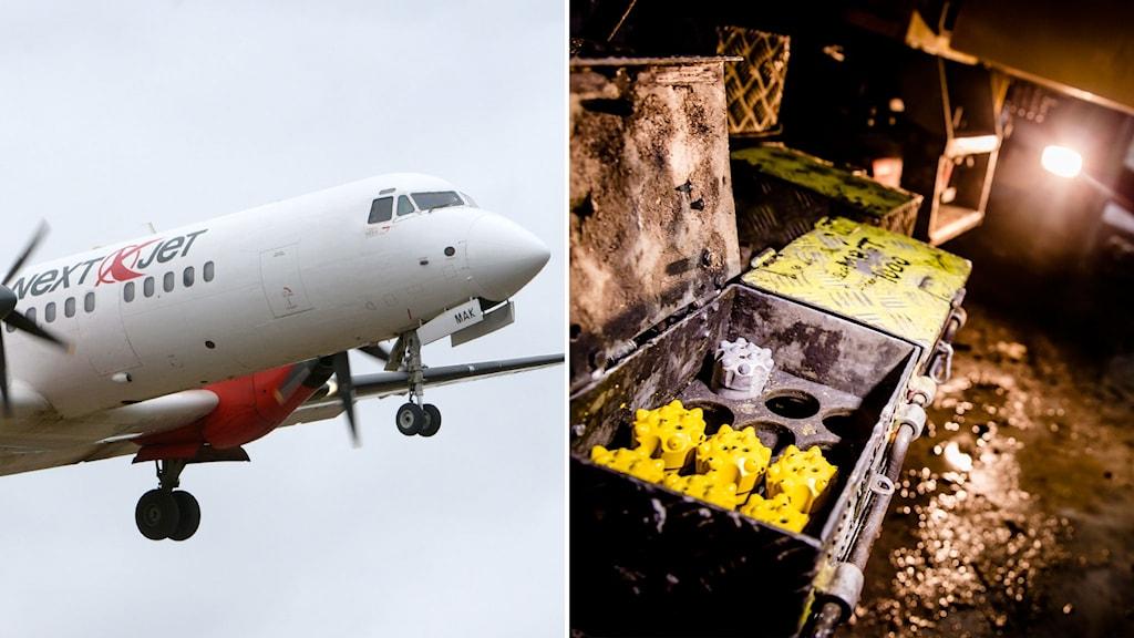 Till vänster: Ett Nextjet-flygplan. Till vänster: Gruvarbete i Malmberget.