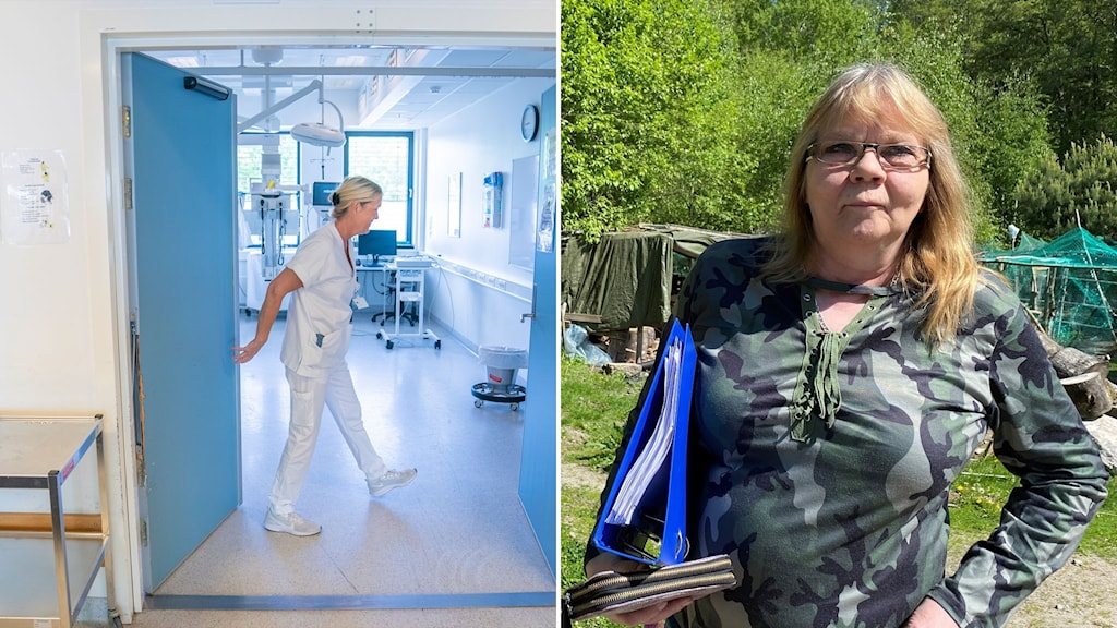 sjuksköterska och bild på kvinna utomhus