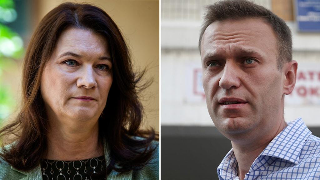 Delad bild. Sveriges utrikesminister Ann Linde (S) och ryske regimkritikern Aleksej Navalnyj