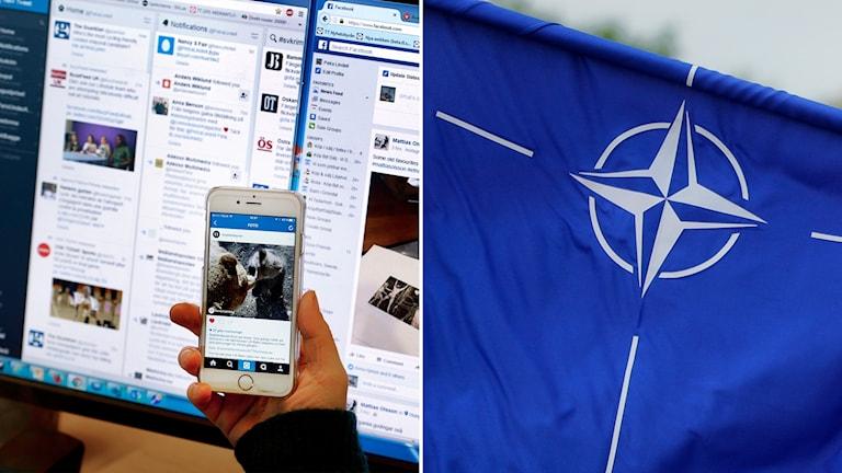 Delad bild: datorskärm med flera sociala medier, Natoflagga.