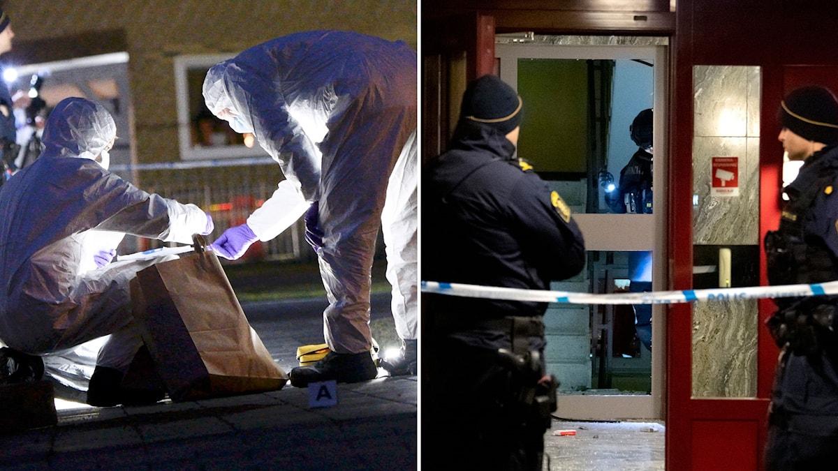 Poliser och tekniker undersöker platserna för explosionerna.