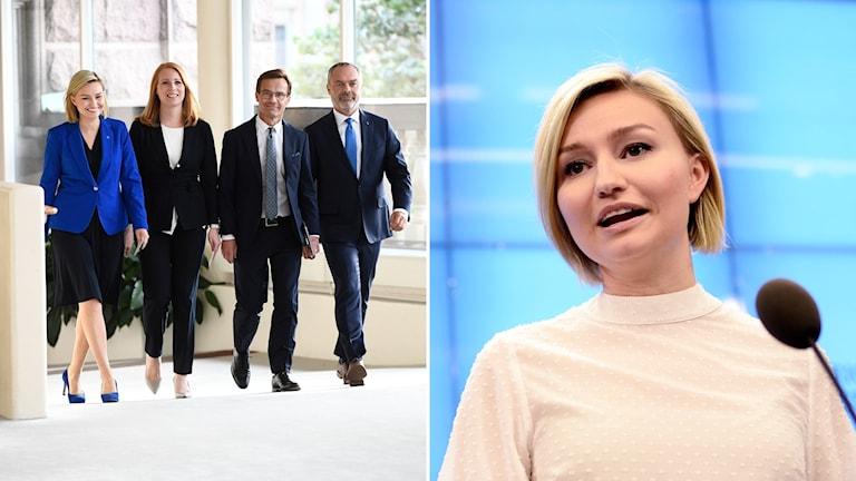Ebba Busch Thor och en bild på Alliansens partiledare.