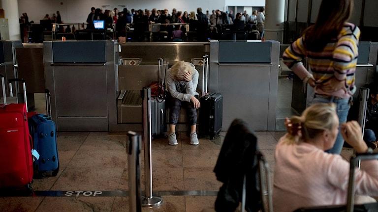Passagerare väntar på flygplatsen Zaventem. Arkivbild.