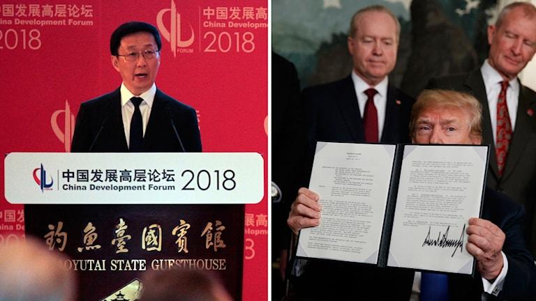 Kinas förste vice premiärminister Han Zheng och USA:s president Donald Trump.